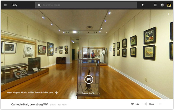 360 degree tour of Carnegie Hall and the WVMHoF exhibit
